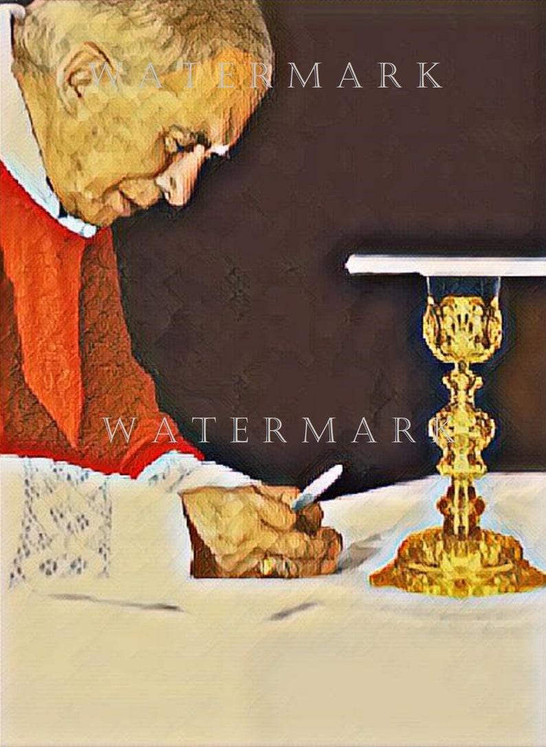 Custom Colorized Photo Painting SSPX Catholic Archbishop Marcel Lefebvre  8