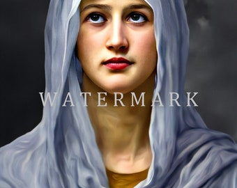 Restored and Customized DIGITAL DOWNLOAD Digital Oil Painting of the Blessed Virgin Mary - The Most Beautiful Creature God Ever Made