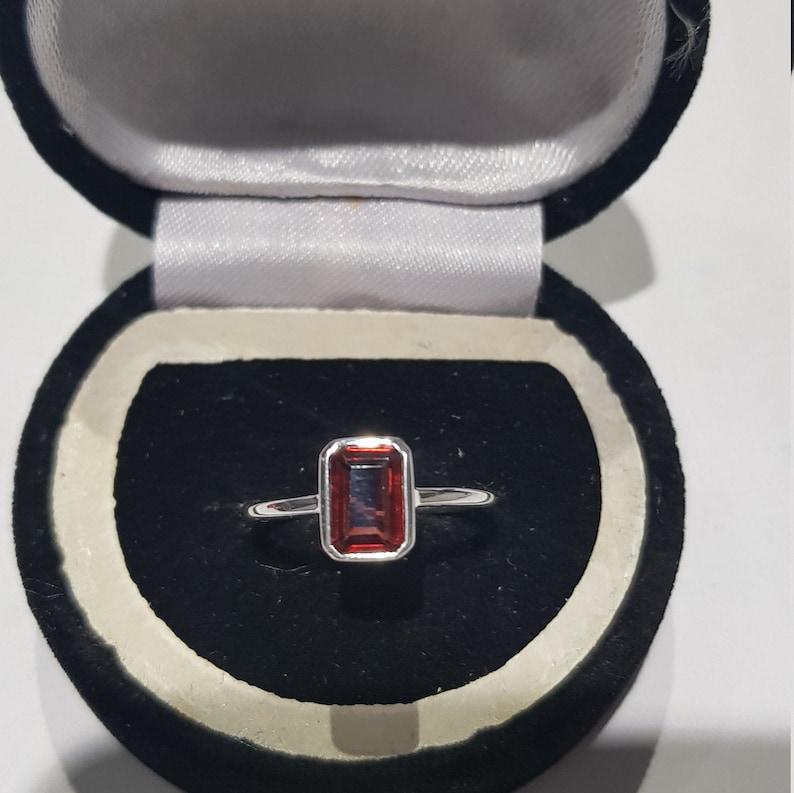 925 solid sterling silver rhodium plated natural emerald cut rectangular shaped garnet gemstone ring