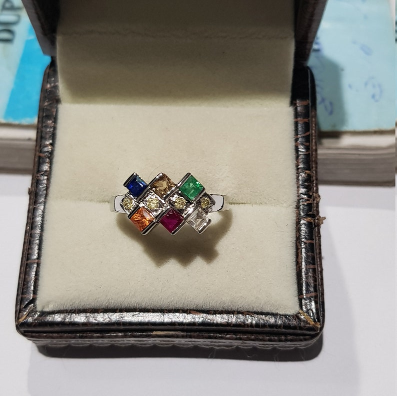 925 solid sterling silver rhodium plated natural princess cut square shaped emerald ruby and Multi sapphires and diamonds gemstones ring