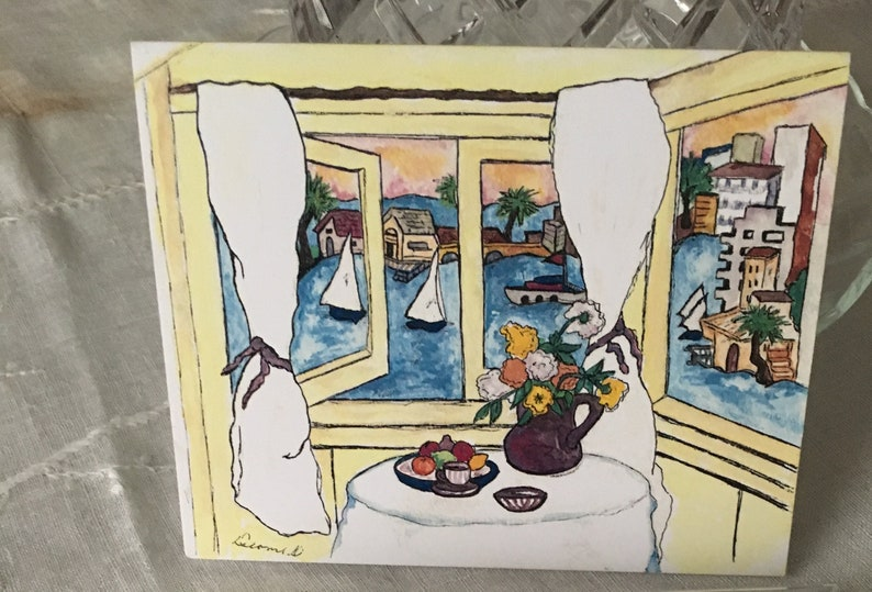 OLD BALBOA Notecards-California Coastal Collection-Original Watercolor-5 Blank Professionally Printed Cards-Clear Box w Gold Tie+Envelopes