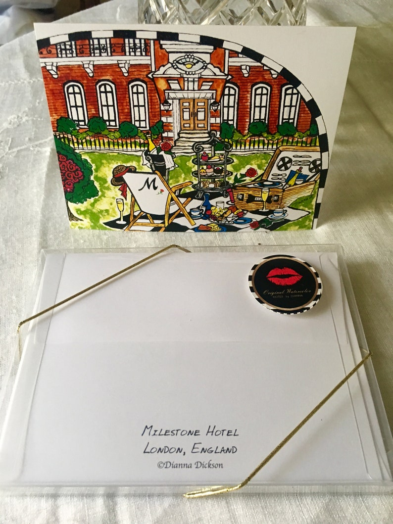 LONDON Notecards-MILESTONE HOTEL-Original Watercolor-4 Professionally Printed Card-Clear Plastic Box with Gold Tie+Envelopes