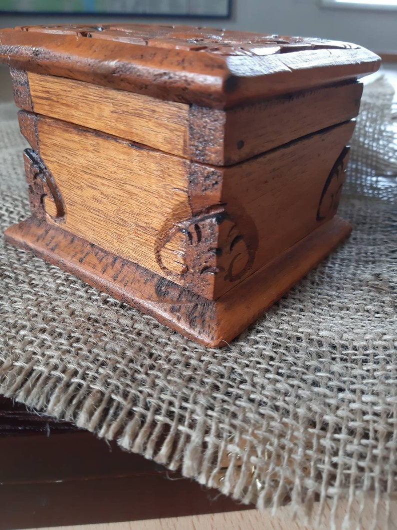 old vintage handcrafted box hand carved decorative box handmade small wooden chest small trinket box jewelry box floral motif wooden box