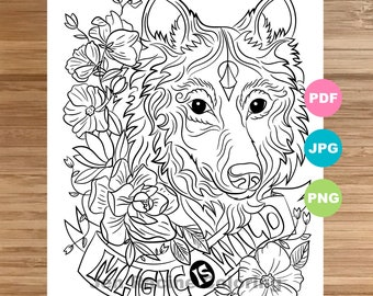 Wolf Coloring Page Etsy