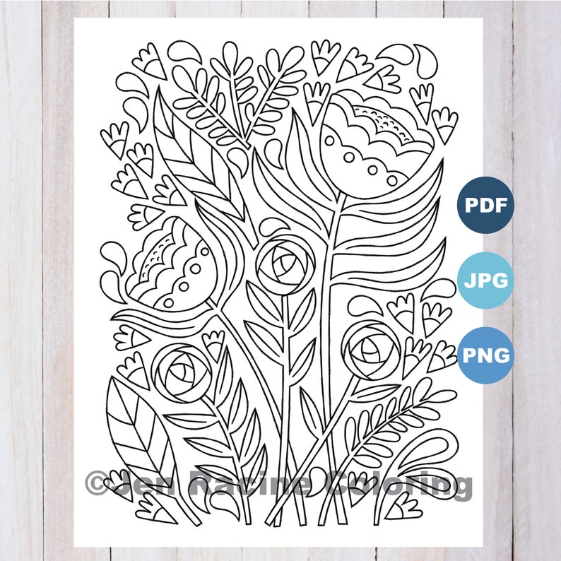 Scandinavian Inspired Coloring Page Pretty flowers
