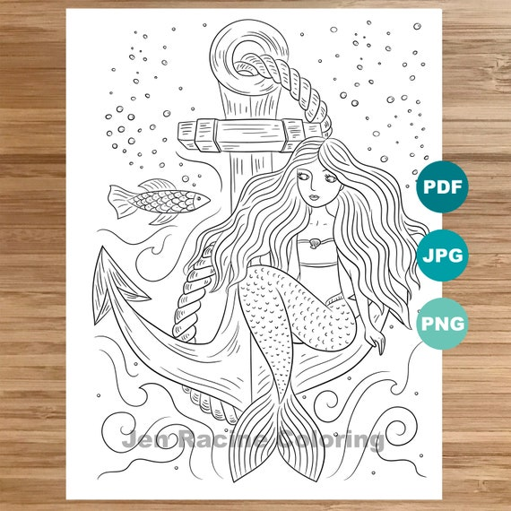 Mermaid and Anchor Coloring Page, Mermaid art, Coloring book printable, Coloring pages for adults, Coloring pages for kids