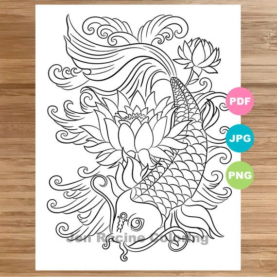 Koi Coloring Page, Animal art, Fish, Magical animal, Coloring book printable, Coloring pages for adults, Coloring pages for kids