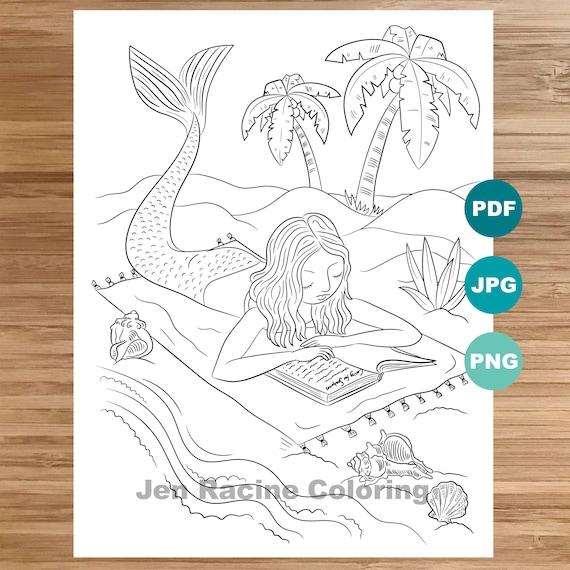 Mermaid bookworm Coloring Page Mermaid art Coloring book | Etsy