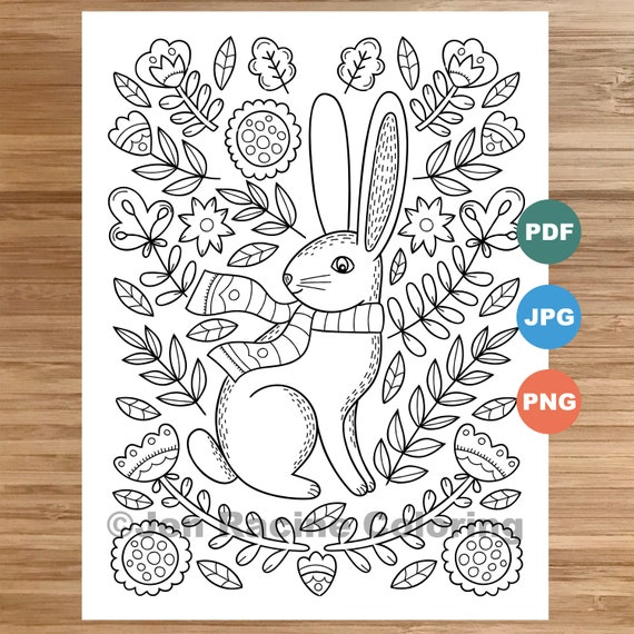 Woodland Wonder Coloring Page Rabbit floral Scandinavian