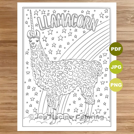 Llamacorn Coloring Page Llama Art Coloring Book Printable Etsy