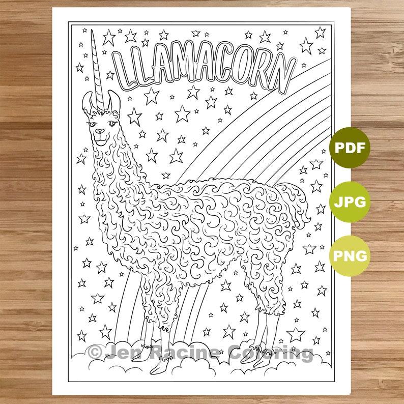 Llamacorn Coloring Page Llama Art Coloring Book Printable Etsy