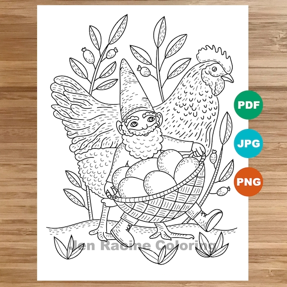 Gnome Coloring Page, Garden Gnomes, Gardens, Flowers, Chicken, Coloring  page, Printable, Coloring page for kids, Coloring page for adults