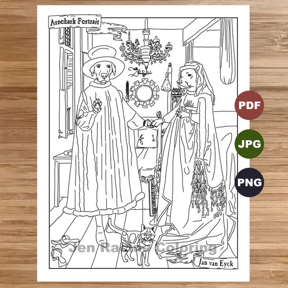 Arnobark Coloring Page, Arnolfini Portrait, Coloring book printable,  Coloring pages for adults, Renaissance artwork, Instant Download, Humor