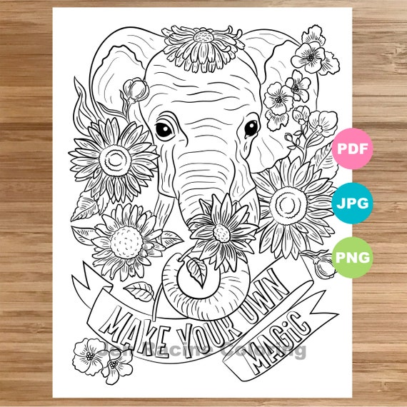 - Elephant Coloring Page Animal Art Coloring Book Printable Etsy