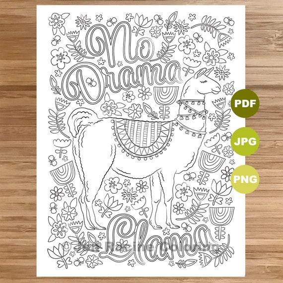 No Drama Llama Coloring Page Llama Art Coloring Book Etsy