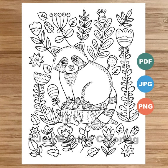 Woodland Wonder Coloring Page Raccoon floral Scandinavian