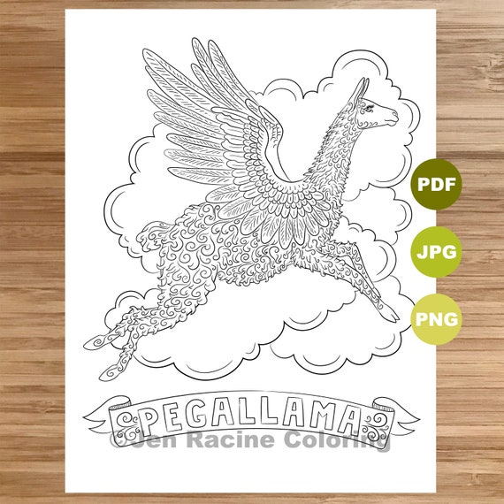 Pegallama Coloring Page Llama Art Coloring Book Printable Etsy