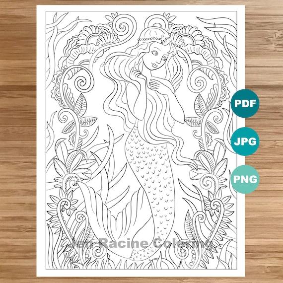 Dreamy Mermaid Coloring Page Mermaid art Coloring book