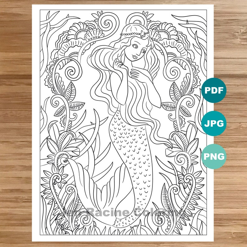 Dreamy Mermaid Coloring Page, Mermaid art, Coloring book printable,  Coloring pages for adults, Coloring pages for kids