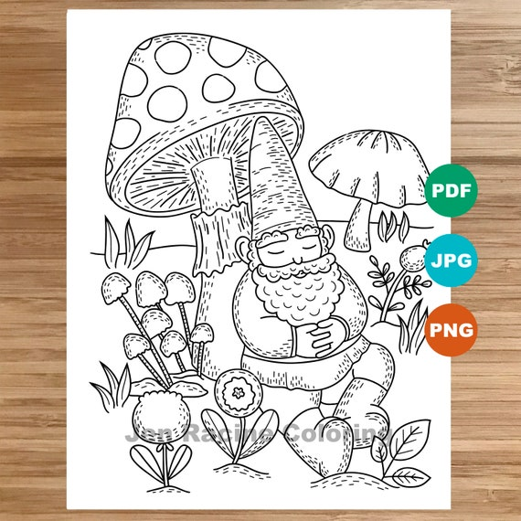 Sleepy Gnome Coloring Page Garden Gnomes Gardening Coloring Etsy