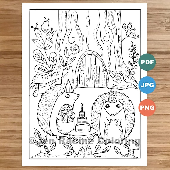 Woodland Wonder Coloring Page Hedgehogs Party floral