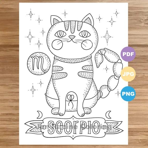 Scorpio Cat Coloring Page Zodiac Animal Art Cats Etsy