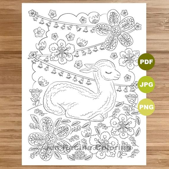 Sleepy Llama Coloring Page Llama Art Coloring Book Etsy