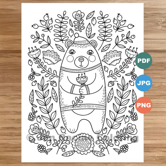 Woodland Wonder Coloring Page bear coloring page floral