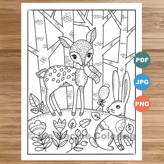 Woodland Wonder Coloring Page Fawn and Bunny floral