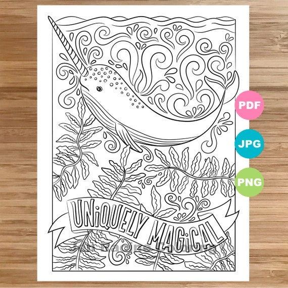Narwhal Coloring Page Animal Art Quote Magical Animal Etsy