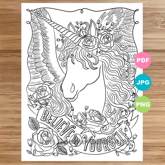 Unicorn Coloring Page Magical Animal Animal Art Coloring Etsy