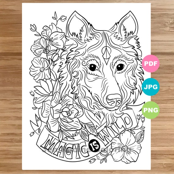 Wolf Coloring Page Magical Animal Animal Art Coloring Page Etsy