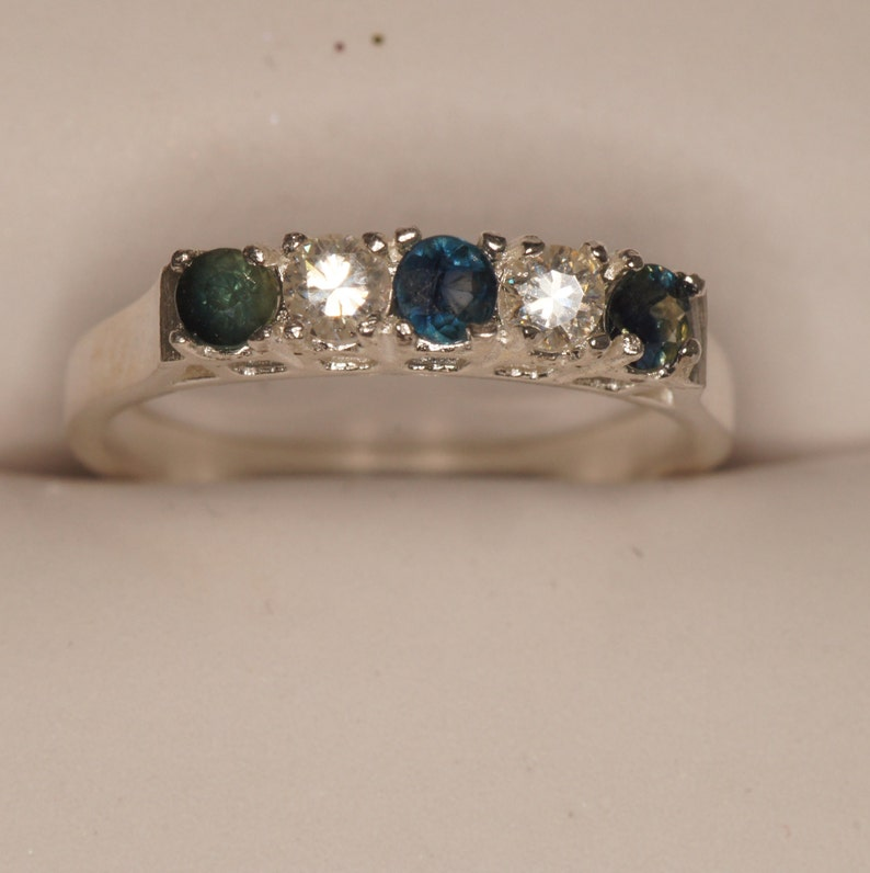 Sapphire and CZ 5 stone silver ring US Size 7