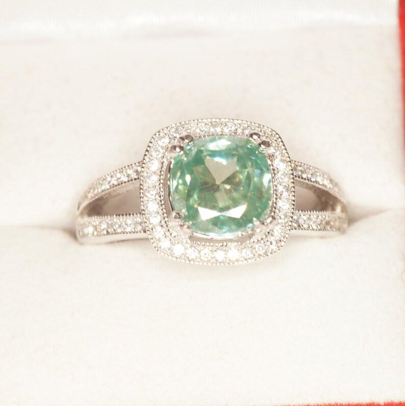 3 Carat Cushion Green Moissanite Ring W Halo Setting Us Size 8 5