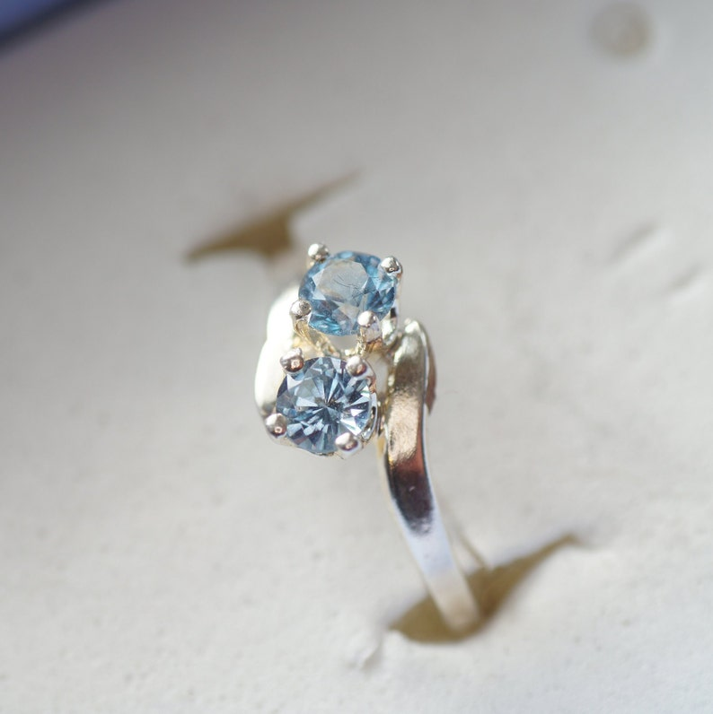 Free Sizing London Blue Topaz Two-Stone Silver Ring
