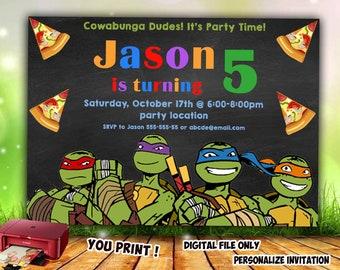 Tmnt Invitation Tmnt Birthday Invitation Diy Tmnt Ninja Etsy