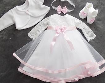 "Baptismal dress, festive dress +headband, set of 4 pieces ""CLARA"" long sleeve color: white/pink size 56, 62, 68, 74, 80, 86, 92, 98"