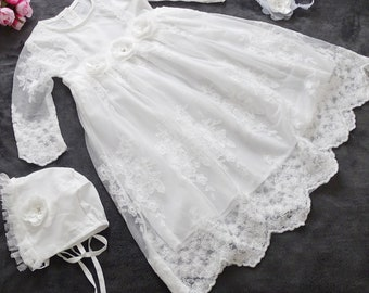 Baptismal dress, festive dress +headband +mutze set 3 pieces gr.  68, 74, 80, 86