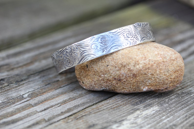 Sterling Silver Cuff Stamped with Air Pattern
