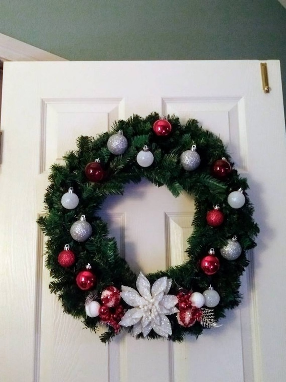 Silver Christmas Wreath.White Red And Silver Christmas Wreath Christmas Wreath Front Door Christmas Wreath