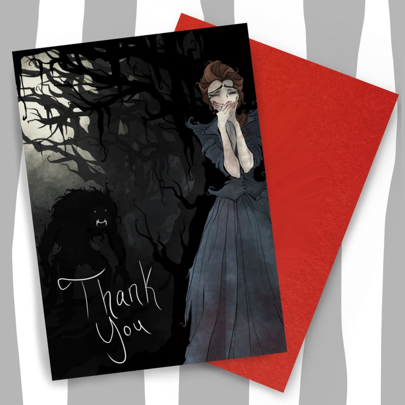 Greeting card  thank you  funny  dark humor  thanks  werewolf  Gothic  wolf  hilarious  unique  goth  horror  card  humor