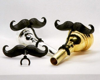 Clip-on Mustache for Brass Mouthpieces - Gift for Trumpet, Trombone, French Horn, and Tuba Musicians