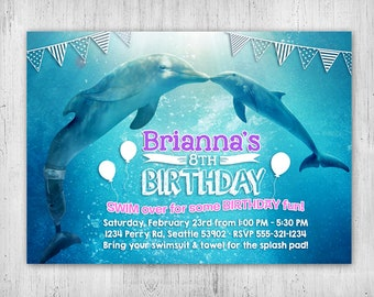 Dolphin invitations etsy dolphin birthday party invitation dolphin tale movie personalized printable file filmwisefo
