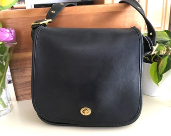 f60fa4b3bb Vintage COACH Stewardess 9525 Bag, Black Leather Saddle Bag, Excellent  Condition