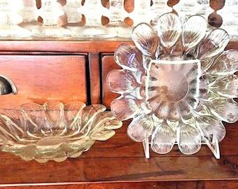 2 Vintage HOLMEGAARD Large Crystal  PETAL Multipurpose BOWLS, Candle Holders, Denmark Sidse Werner