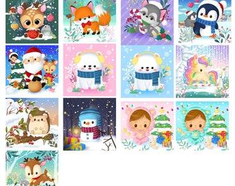 Winter fabric coupon illustrated customizable seamstress 13 Minky models, canvas, satin, velvet 10x10 cm 20x20 cm 30x30 cm
