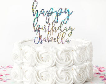 Black and Silver holographic Happy Birthday Cake Topper