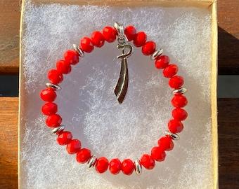 Pulseira de Ogum com berloque de espada// Ogum bracelet, with a sword charm, elastic stretch cord//MumGaya Spiritual