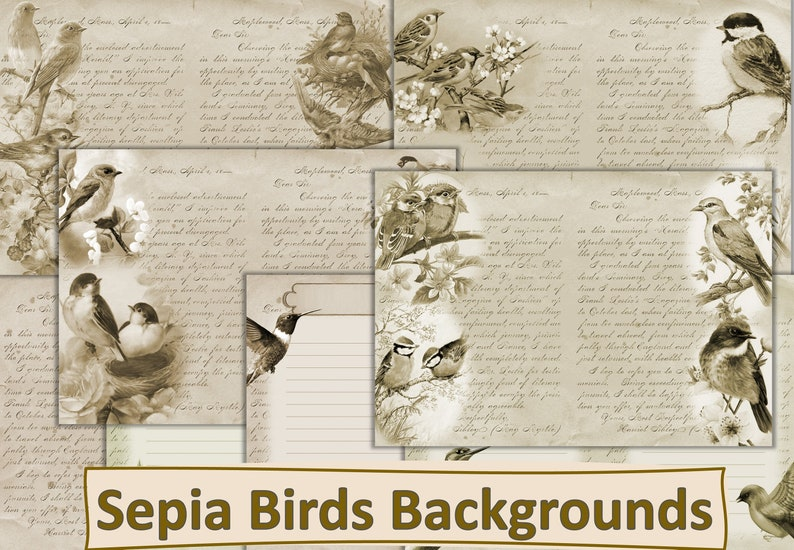 Commercial use Vintage Sepia Birds Backgrounds and Journal Pages A4 Letter size JPEG and PDF