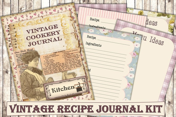 Printable Vintage Cookery Recipe Journal Kit with Free